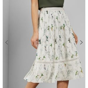 Ted Baker Fortune Pleated Midi Skirt Floral & Bird